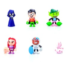 Skyleshine 5pcs/Lot Teen Titans Go Robin Beast Boy Raven Cyborg Action Figures Toys Brinquedo Toy Girl Boy Christmas Gift S1015(China)