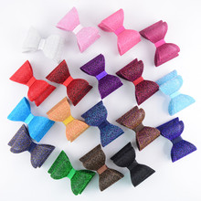 120pcs/lot Trendy Gold Dust Shiny Solid 3D Bowknot PVC Hard Bows for girl Headband DIY Boutique 18 Color for U Pick HDJ105(China)