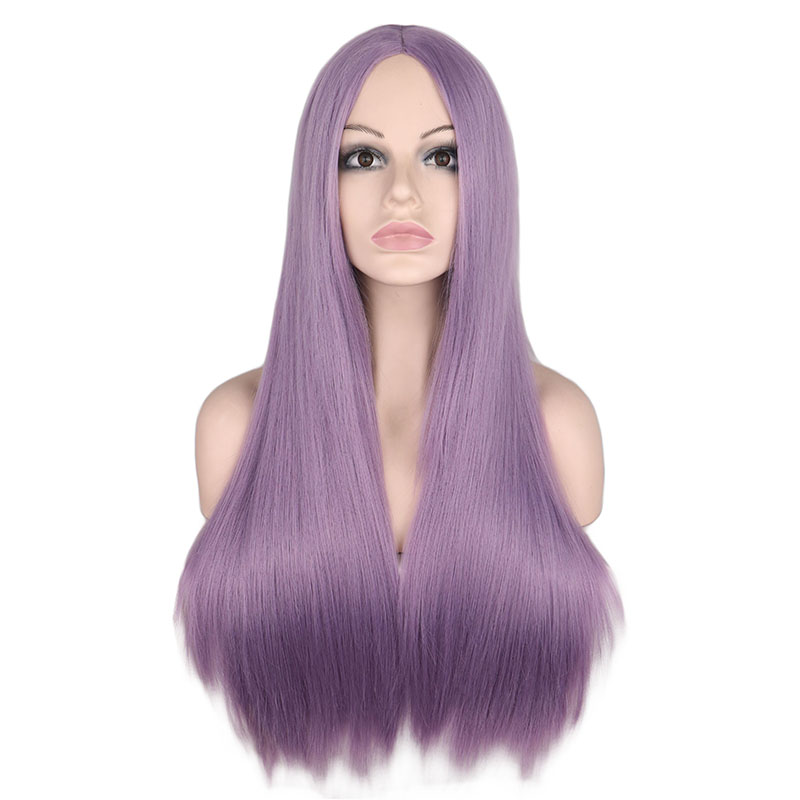 QQXCAIW Wig Synthetic-Hair-Wigs Gray Hair Middle-Part Heat-Resistant Orange Pink Black title=