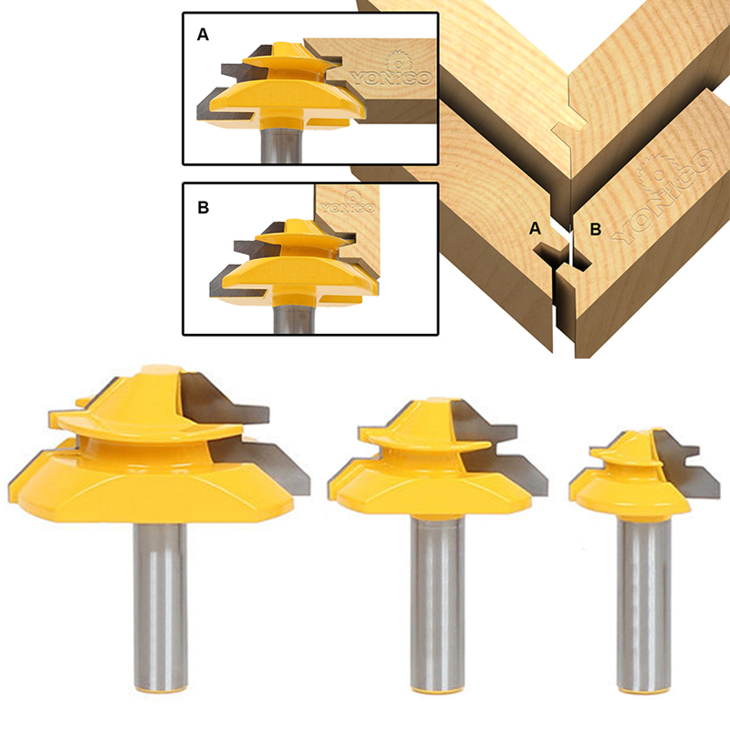 DWZ 3pcs 1/2 Shank 45 Degree Glue Joint Lock Miter Router Bits For Woodworking<br>