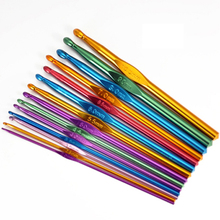 2017 NEW 14 Sizes Multi coloured Aluminum Crochet Hooks Needles Set 2mm-10mm(China)