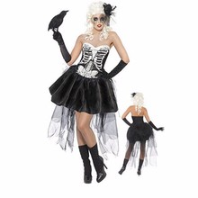 Vocole Sexy Women Halloween Vampire Costume Zombie Ghost Bride Cosplay Fancy Dress Lace Mini Tutu Dress Skeleton Size M XXXL