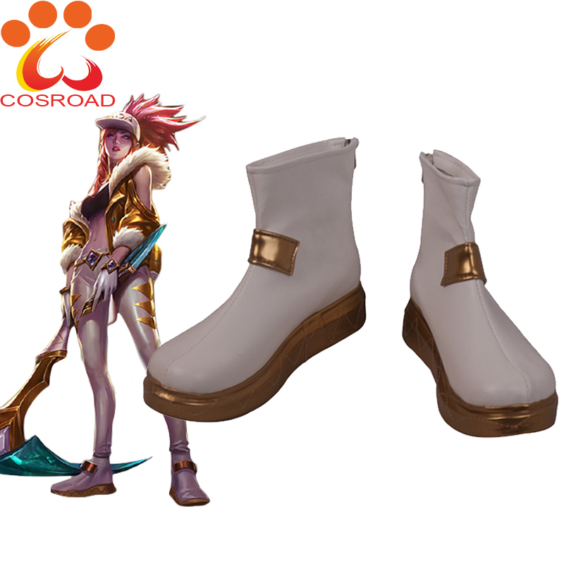 Cosroad LOL KDA Akali Cosplay Shoes The Rogue Assassin Costume Shoes Women White Leather Footwear Props Halloween Costume Boots
