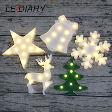 LEDIARY Christmas Title 3D Night Light Star Tree Snowflake Reindeer Bell LED Room Decoration Lamp Bedside Marquee Sign Battery