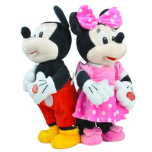 2017 New 1pcs electric Mickey Mouse Minnie plush toys will be singing and dancing to the  interactive toys for children