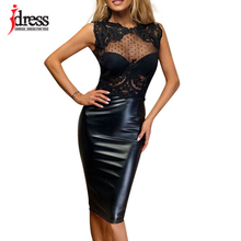IDress Summer 2017 Latex New Robe Femme Sexy Sheer Lace Dress Open Back Patchwork Knee Length Bodycon Evening Party Black Dress(China)