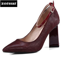 {Zorssar} 2018 New Fashion horse hair women heels pumps thick heel Pointed toe Ankle Strap High heels womens shoes big sizes 43