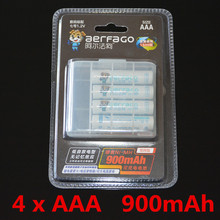 4pcs/pack aerdago Ni-MH AAA Battery 900mAh Batteries Rechargeable Battery +Portable Battery Box