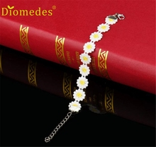 Diomedes 1pc Delicate Daisy Flower Bracelet Female Bohemian Jewelry Charm Leather Casual Bracelet #0223(China)
