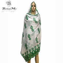 BM255! New African scarfs,new Spring muslim embroidery women cotton scarf with rhinestones,big embroidery scarf for shawls wraps