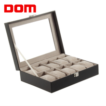 DOM Black PU Leather 10 Grid Watch Box Professional Storage Collection Holder Organizer Case Wrist Watch Jewelry Display Box