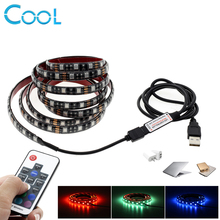 5V USB LED Strip 5050 RGB TV Background Lighting 60LEDs/m with 17Key RF Controller 50cm / 1m / 2m Set(China)
