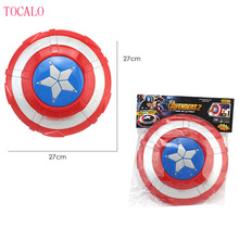27cm PVC Captain America Figure Toys The Avengers Captain America Shield Light-Emitting & Sound Cosplay Model Toy With Opp Bag(China)