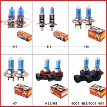 2pcs car lights H1 H3 H4 H7 H8  H11 9005 9006 55W 100W 6000K Super Bright White halogen lamp bulb fog light 12V Cars DRL