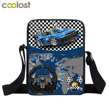 Cartoon Racing Car Crossbody Bag Mini Messenger Bag Boys School Bags Kids Shoulder Bags For Snacks Children Schoolbags Bookbag(China)