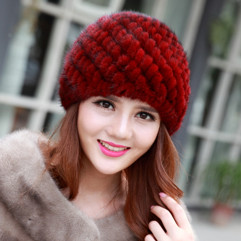 2017 New Fashion Real Mink Fur Hats For women Winter Hats For Lady Genuin Knitted Mink fur Ear Warm Cap Thick  female hat Wool Одежда и ак�е��уары<br><br><br>Aliexpress