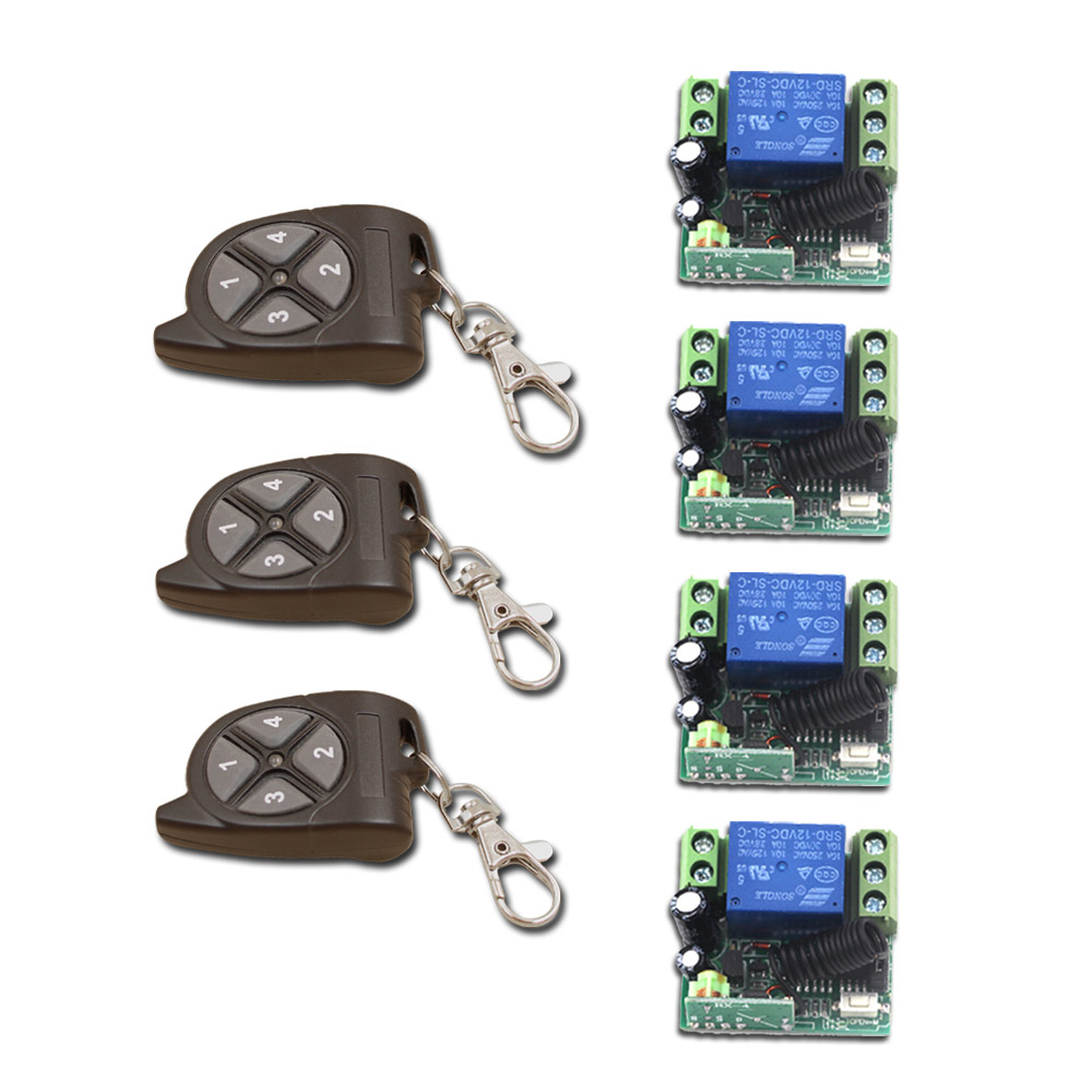 New Pattern DC12V 1 Channels Mini Wireless Switch with Remote Control  High Quality Four Normally Open Contacts 315/433mhz<br>