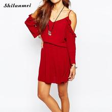2016 Women Elegant Tube Top Midi Length Party Beach Sexy off shoulder short sleeve Solid red Backless tunic girdle Dress