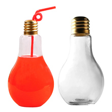 Behokic 400ml Light Bulb Glass Beverage Water Drink Bottle Jug w/ Plastic Sealing Cap For Coffee Shop Idea Decor Flower Vase(China)