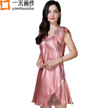 new winter satin sleepwear women night wear lotus sleeve V-neck lace women's night shirts home dress chemise de nuit(China)