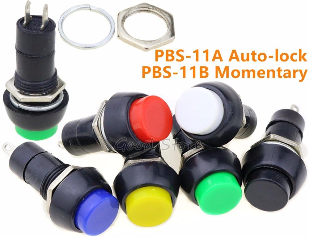 10Pcs PBS-11A Red//Green AC 250V 3A 12mm Self Locking Push Button Switch E^