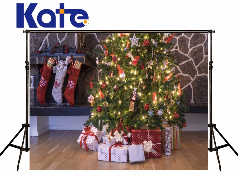 KATE Photo Background 10X10ft Christmas Backdrop Christmas Tree Backdrop Arbol De Navidad  Madera Socks Decorations for Home<br>
