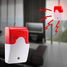 Wired Strobe Siren Durable 12V Sound Alarm Strobe Flashing Red Light Sound Siren Home Security Alarm System 115dB