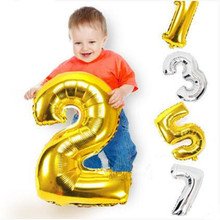 32 inch Gold Silver Number Foil Balloons Digit air Ballons Birthday Party Wedding Decor Air Baloons Event Party Supplies(China)