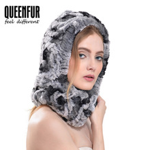 QUEENFUR Women's A Head Scarf Real Knitted Rex Rabbit Fur Ring 2016 Winter Warm Fur Scarves Female Genuine Fur Scarves