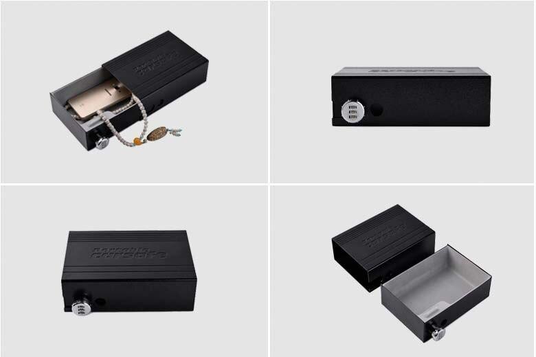 Car Safes Portable Safe Box Password Lock Safes Jewelry Cash Pistol Storage Box Aluminum alloy Security Strongbox Cable Fixed (24)