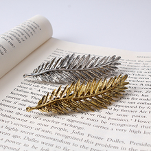 New European Vintage Style Metal Leaf Feather Hairpins Barrettes Hair Jewelry For Women Girls Delicate Hair Clip Barrettes