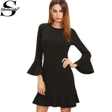 Sheinside Casual Short Womens Dresses New Arrival Elegant Dress Office Dress Black Bell Sleeve Ruffle Hem Dress