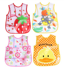 Baby Toddler Dinner Feeding Bibs EVA Waterproof Art Smock Bib Apron Cartoon Children Vest Baby Feeding Clothing(China)