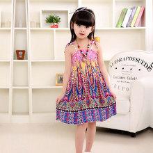 Bohemian Style Dress Girls Summer Braces Dresses Fashion Knee-length Girls Beach Dresses Sundress 2017