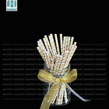 25pcs/lot Golden Paper drinking straw For Wedding Birthda Party Wedding Holiday Decoration penis straws