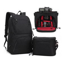 Black Large Capacity 2 in 1 Photo Camera Shoulders Padded Travel Waterproof Backpack Carrying Bag Video Tripod Laptop Case Bags