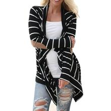 Fashion Outerwear Cardigans Women Long Sleeve Casual Strip Pachwork Black Cotton Knitted Sweater Women Chaqueta De Mujeres Oc26