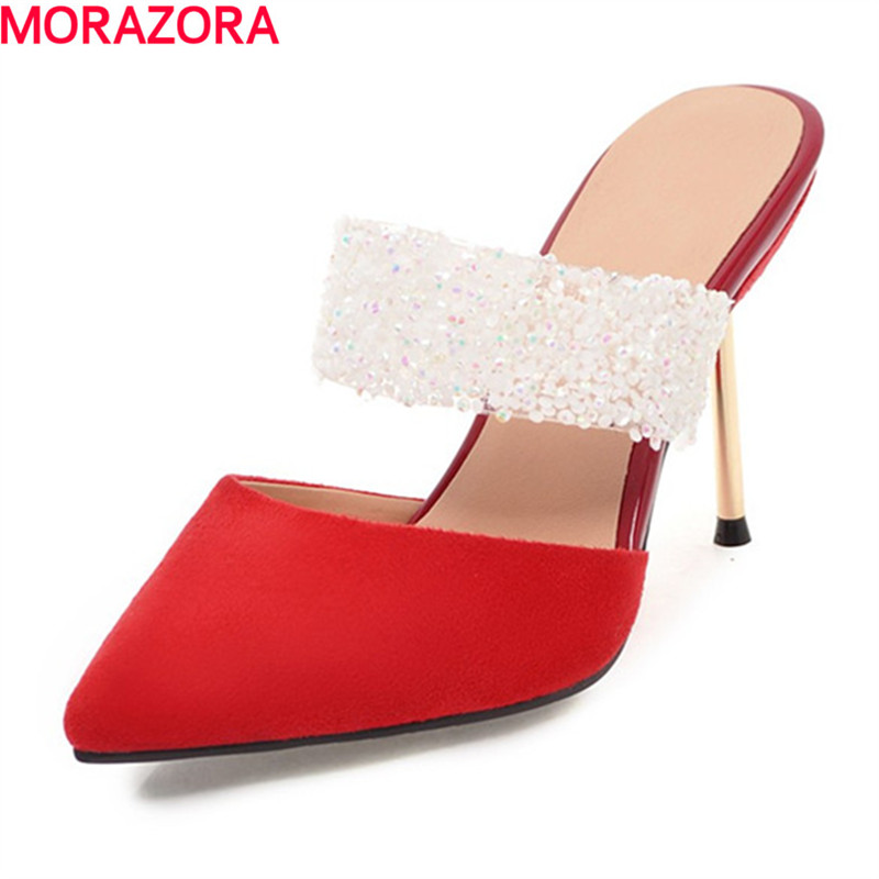 MORAZORA new arrival fashion glitter party summer pumps simple women extreme high heels pointed toe wedding shoes big size 34-43<br>