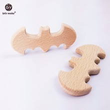 Let's Make Car Seat Toy 10PC 98*48mm Wooden Baby Teether Toys Bat Baby Teething Toy Wooden Teether Wooden Pendant Charms