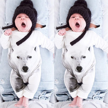 Newborn Baby Boy Rompers White Wolf Suit Bow Leisure Body Suit Clothing Toddler Jumpsuit Baby Boys Brand Clothes