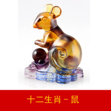 Zodiac mice glass ornaments creative birthday gift factory direct furniture lettering animal Jushi