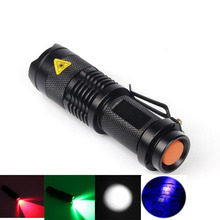 LED Red/Green/White/UV Flashlight SK68 Purple Violet Light 395nm Torch Lamp 3 Modes Zoomable Tactical hunting camping Linternas