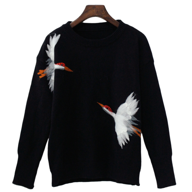TVVOVVIN Fashion Woman Sweaters 2019autumn Winter New Thick Embroidery White Crane Pullovers O-Neck Full Knitted Sweater T441