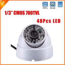 Plastic House 1/3'' Color CMOS Camera with Audio HD Camera 700TVL Dome Camera 48 IR LED Day/Night Indoor Camera Security CCTV
