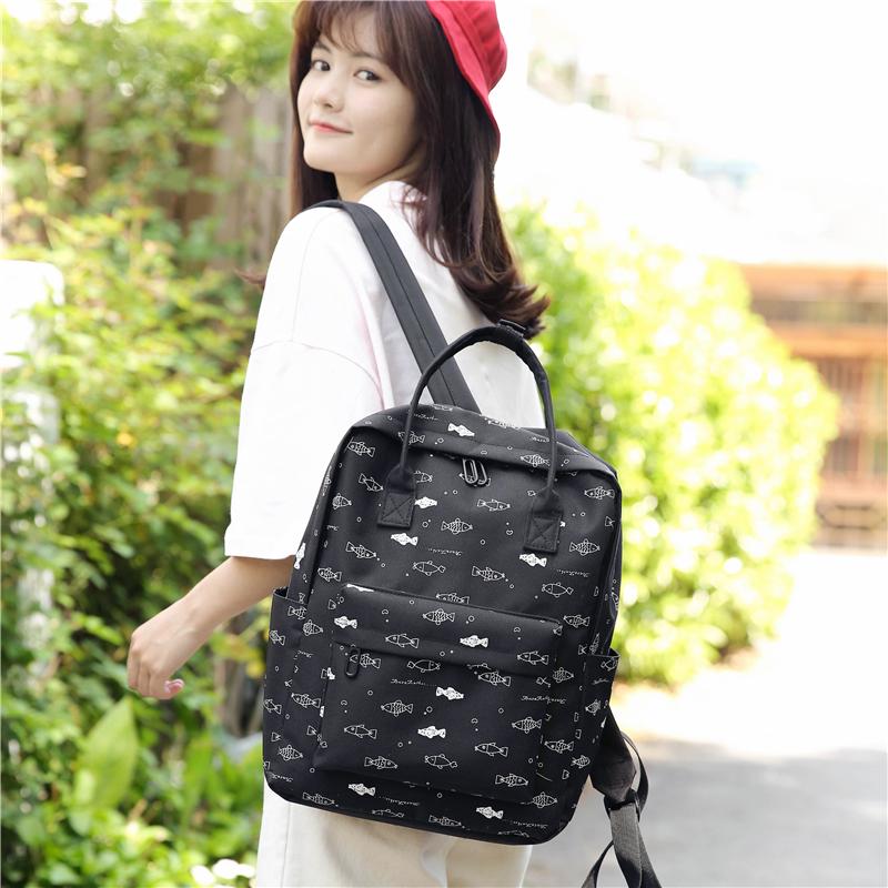 Menghuo Fish Printing Women School Bag Backpack for Teenage Girls Backpacks Female Canvas Children Schoolbag Women Bag s (51)