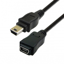100pcs Mini USB B typ 5Pin Male to Female extension cable 0.5m 50cm , Free shipping By Fedex
