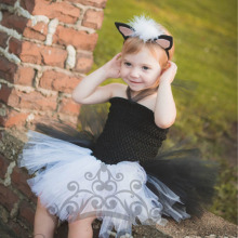 2017 Latest Baby Girl Party Dress Black White Christmas Cosplay Costume Children Holiday Pageant Princess Ball Gown Tutu Dresses(China)