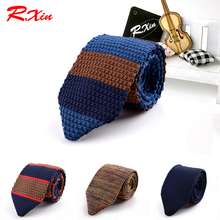 New Design Fashion Male Brand Slim Designer Knitted Ties Neck Ties Cravate Narrow Skinny Neckties For Men Striped Ties(China)