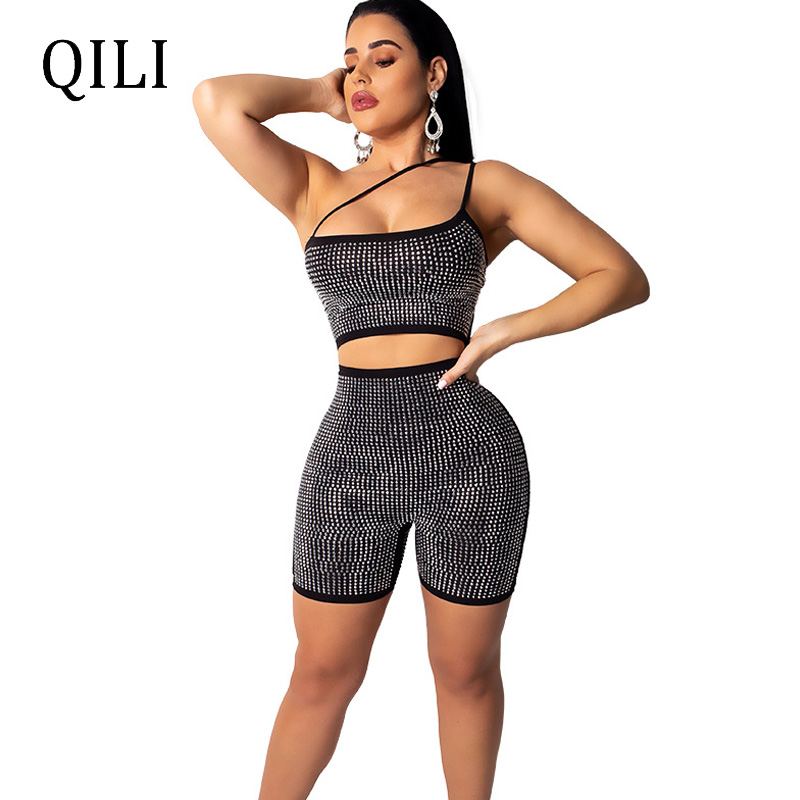 QILI Diamonds Rhinestone Jumpsuit Women Rompers One Shoulder Spaghetti Strap Sleeveless Hollow Out Zipper Romper Flash Rompers