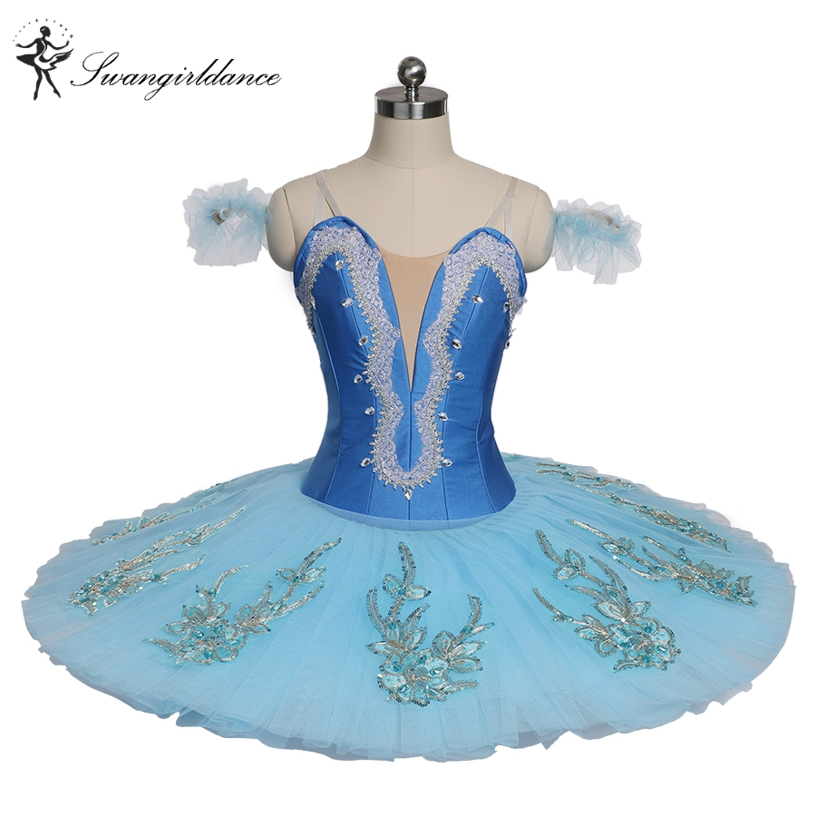Women Blue Swan Lake Professional Pancake Tutu Blue Girls Performance Competiton Pallter Tutus Childs BT9142B
